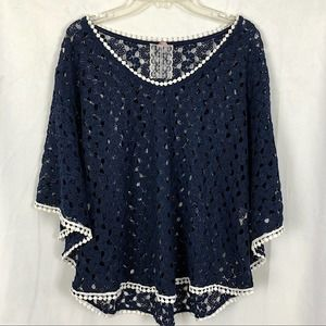 MAUVE Crochet Navy Blue Top L